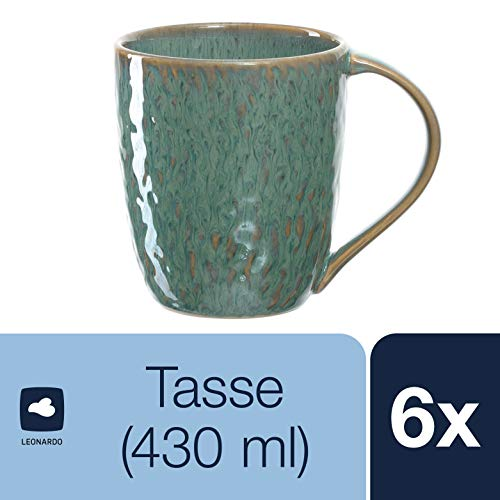 Leonardo Matera Keramik-Tassen, 6-er Set, spülmaschinengeeignete Kaffee-Tassen, mikrowellenfeste Tee-Tassen mit Glasur, grün, 430 ml, 018543