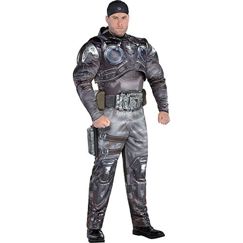 Party City Marcus Fenix Halloween Muscle Costume for Men, Gears of War, Plus Size, with Accessories