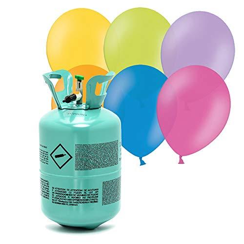 DekoHaus Bombona de helio para globos y 30 globos pastel para fiestas de gas.