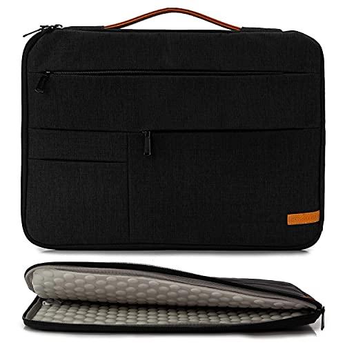 KINGSLONG Laptoptasche, 17-17.3 Zoll Herrn Laptop-Aktentaschen mit Schulterriemen Tragbar Tasche Notebook Umhängetasche Wasserabweisend Satchel Business Bag für Toshiba Lenovo HP - Schwarz