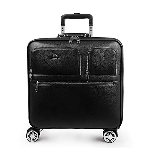 fosa1 Hand Luggage Trolley case Leather Trolley Case, Suitcase, Password Box 16 Inch Black