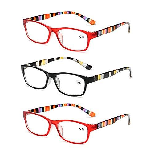 JTeam Gläser 3 Paar Unisex Lesebrille Zwei Farben Buntes Design (Color : Black Red, Size : 3.50X)