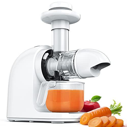 Iurrek - Extractor de zumo E3C, Slow Juicer, prensa en frío con función de reverso, antigoteo y motor silencioso, tornillos de cerámica sin BPA, para zumo de frutas y verduras, crema helada
