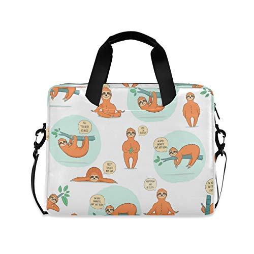 MAHU Laptop Case Bag Sloth Animal Quote Pattern Laptop Sleeves Briefcase 13 14 15.6 inch Computer Messenger Bag with Handle Strap for Women Men Boys Girls