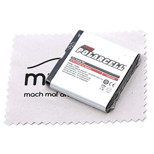 Batteria di ricambio per Nokia 6720 Classic E51 E81 N81 N81 8GB N82 (sostituisce la batteria originale BP-6MT) Polarcell con panno per la pulizia dello schermo Mungoo