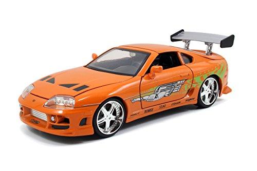 Jada Toys 253203005 Brian's 1995 Toyota Supra aus Fast & Furious, Tuning-Modell im Maßstab 1:24, mit Spoiler, zu öffnenden Türen, Freilauf, Motorhaube und Kofferraum, orange