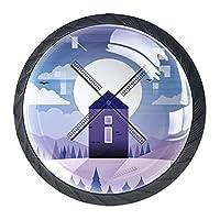 引き出しノブプルハンドル4個 クリスタルガラスのキャビネットの引き出しは食器棚のノブを引っ張る,風車紫