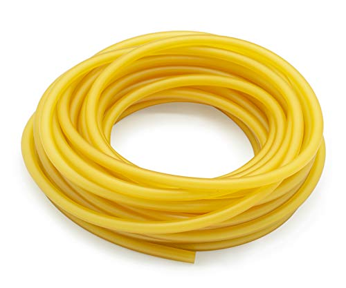 Famgee 32.8FT/10M Natural Latex Rubber Tubing Elastic Speargun Band Slingshot Catapult Surgical Rubber Tube Hose for Outdoor Hunting Physical Therap (0.08' ID, 0.2' OD)