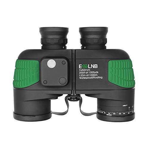 ESSLNB Marine Fernglas mit Nachtsicht Entfernungsmesser Kompass 7x50 Militär Feldstecher Ferngläser Wasserdicht BAK4 für Kinder Erwachsene mit Tasche und Gurt