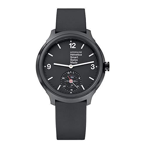 Mondaine Helvetica Smartwatch - Schwarze Silikonuhr für Herren und Damen, MH1.B2S20.RB, 44 MM