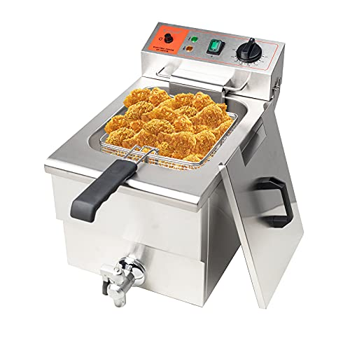 Valgus 1750W Stainless Steel Electric Deep Fryer 12L Large Capacity Countertop Kitchen Frying Machine with Basket & Lid, Drain System