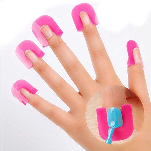 20 Pcs Protecteur d'Ongles Manucure Doigt Nail Art Bouclier Rose Rouge