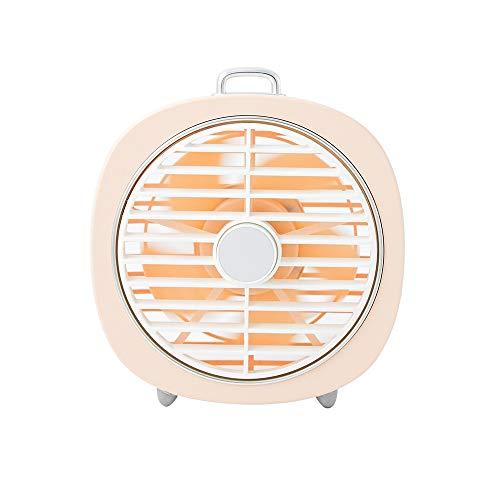 Zzyff Rinfrescante Estate Alta qualità Mini Ventilatore Muto Retro ventoso Coperchio Girevole USB Camera da Letto da Tavolo a LED Night Light 2 in1 Durevole (Colore : Pink)