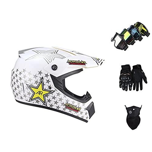 STZYY Conjunto De Casco De Motocicleta Todoterreno para NiñA con Casco De Quad Todoterreno con Guantes/Gafas/Protector Facial-Baixing