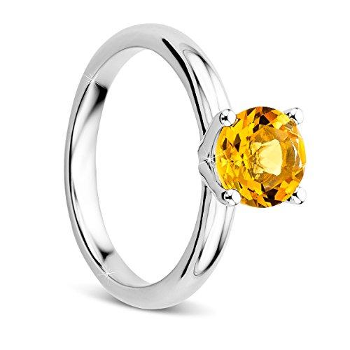 Orovi Ring für Damen Solitärring Citrine Weißgold Verlobungsring 9 Karat (375) ring Citrine 1.36 crt