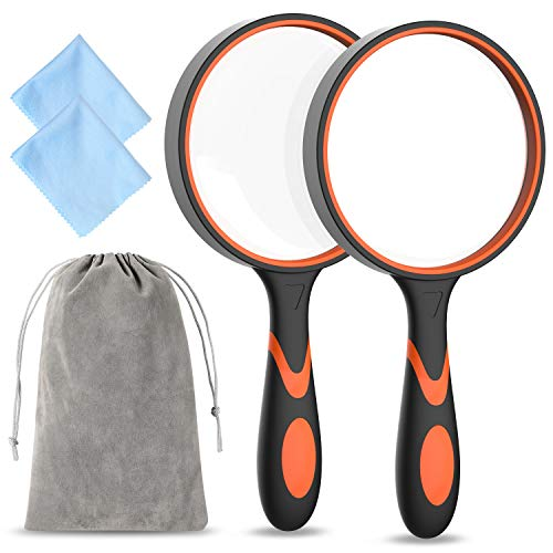 2 Pack Magnifying Glass, Ohuhu 3X Handheld Reading Magnifier for Kids and Seniors, 4 Inch Non-Scratch Quality Glass Lens, Shatterproof Design, Include Felt Bag and Cleaning Cloth