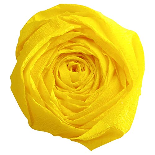 Clairefontaine 901015C - Un paquet de 10 feuilles de crépon standard 2x0,50m, crépâge 40 %, Jaune citron