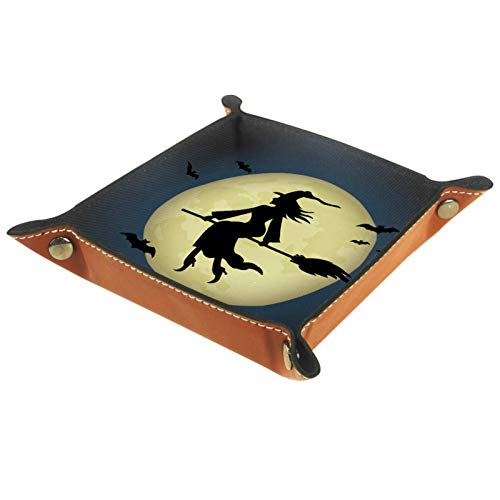 Mapotofux Ring Dish Jewelry Holder Trinket Tray Best Gifts for Women The Witch Riding A Broom Through The Full Moon