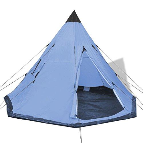 Festnight- 4-Personen Zelt Outdoor Tunnelzelt Campingzelt Leichtes Trekkingzelt Blau