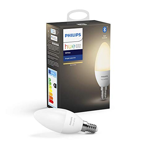 Philips Hue Ampoule LED Connectée White E14, Compatible Bluetooth 40 W, Fonctionne...