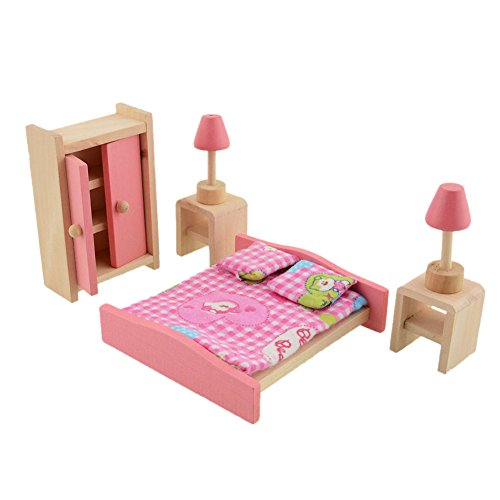 Demiawaking Set Mobili In Legno delle Bambole Casa delle Bambole di Miniatura Giocattolo per Bambini (Camera da Letto)