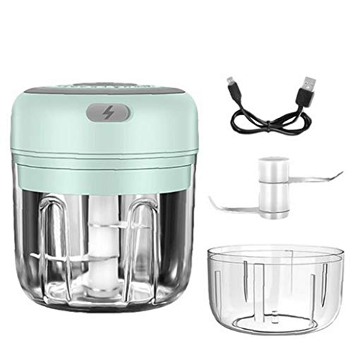 Electric Garlic Masher Cordless Garlic Grinder Portable Mini Food Chopper with 100ml Cup Replacement for Pepper Garlic Chili Vegetable Nuts Green 250ml Kitchen Tools