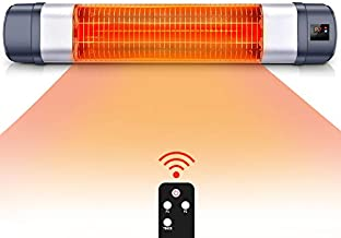 Patio Heater - 1500W Infrared Red Tube Space Heater w/Remote, Timer Function & 1s Instant Heat, Holder Available Electric Heater, Overheat Protection, Super Quiet Infrared in/Outdoor Heater
