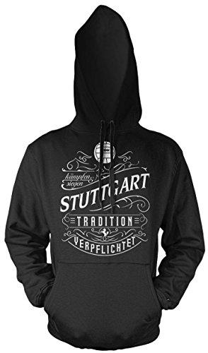Mein Leben Stuttgart Männer und Herren Kapuzenpullover | Fussball Ultras Geschenk | M1 Front (Schwarz, L)