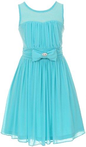BluNight Collection Big Girls Sweetheart Chiffon Illusion Neckline Princess Flower Girls Dresses (50C03C) Aqua 16