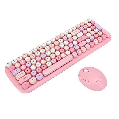 Goshyda Juego de Teclado y Mouse, 2.4G USB Wireless 100 Keyboard Mouse para computadora portátil, Tableta, computadora de Escritorio, para Win XP / Win7 / Win8 / Win10(Candy XR)