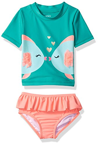 Carter's Girls' Two-Piece Swimsuit, Turquoise Fish, 18 Months