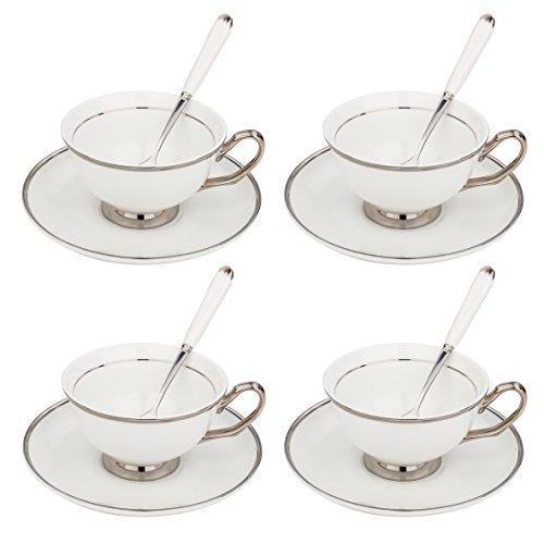Artvigor, Porzellan Kaffeeservice, Teeservice für 4 Personen, mit je 4 Teetassen, Löffel und Untertassen