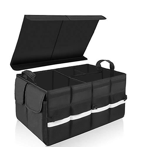KEAFOLS Kofferraumtasche Auto Kofferraum Organizer mit Klettverschluss Deckel Universal Faltbare Autotasche Aufbewahrungstasche Auto Kofferraum Box für Auto