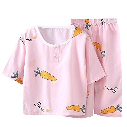 DEBAIJIA Niños Pijama 0-8T Bebé Ropa de Dormir Infantil Homewear Niña Ropa Casual Niño Animado Lindo Algodón Conjuntos (Ligero Rosa-110