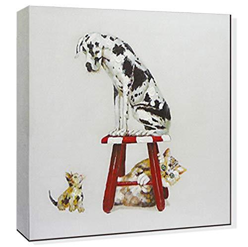 【開運絵画】 手書き オイルペイントモダンアート ねこ ネコ 猫 動物 油絵 油彩画 横60*縦60cm 【壁掛けフック付き】 【梱包はダンボールに包まれていています】 ハンドメイド 絵画 絵のある暮らし 玄関 エントランス 部屋 和室の壁掛け 壁に飾る癒