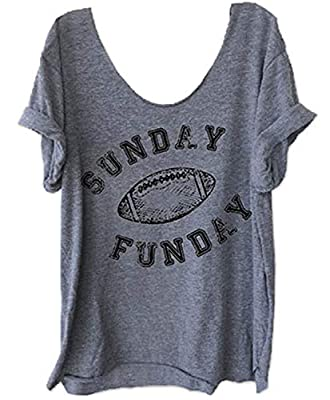 Women's Sunday Funday Football Funny Shirt Off Shoulder Graphic Tees Casual Loose Tops