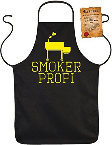 Motiv-Schürze/Grill-Schürze Rubrik lustige Sprüche inkl. Spaß-Urkunde: Smoker Profi - geniales Geschenk