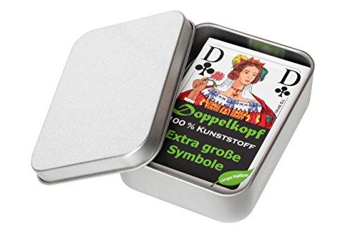 Doppelkopf Senioren Karten aus 100% Kunststoff *Premium* (Plastik +) Spielkarten Französisch, wasserfest, Set Metalldose (1x, + Metallbox und Karten in Faltschachtel)