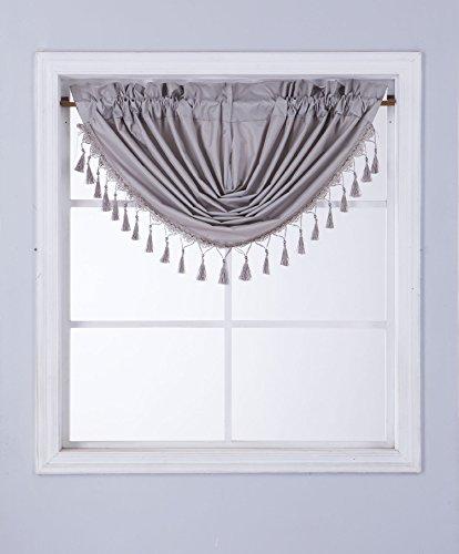 GorgeousHomeLinen (RS8) 1 Short Decorative Rod Pocket Foam Lined Blackout Silk Swag Waterfall Window Curtain Valance for Kitchen, Living Room, Bedroom, Nursery, Basement & Bathroom (Silver Grey)