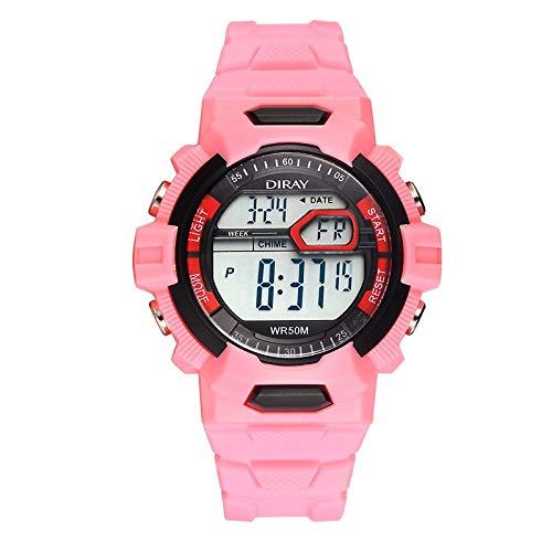 CXJC Reloj de Deportes de Color Lindo de Color de Jalea, Reloj Deportivo a Prueba de Agua y Amortiguador, Alarma Luminosa y Reloj LED multifunción de Tiempo (Color : 6)