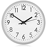 COM-FOUR® Analoge Wanduhr mit großem Ziffernblatt - schöne Uhr für Küche, Wohnzimmer, Schlafzimmer und Büro - Ø 20 cm (1 Stück - silberfarben)