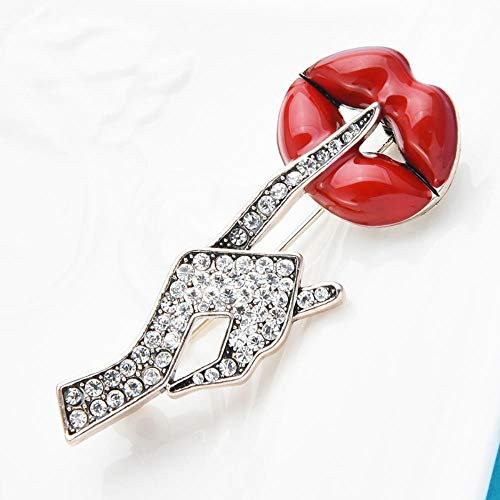 Broches de labios esmaltados a mano con diamantes de imitación, broches informales de oficina con pose secreta sexi para mujer