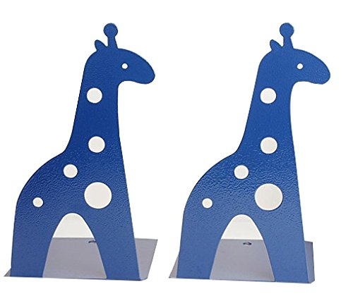21CM Cute Cartoon Fashion Hollow Giraffe Bookend Kids Book End Nonskid Iron Metal Bookends Library School Office Home Study Book End Gifts (Blue)