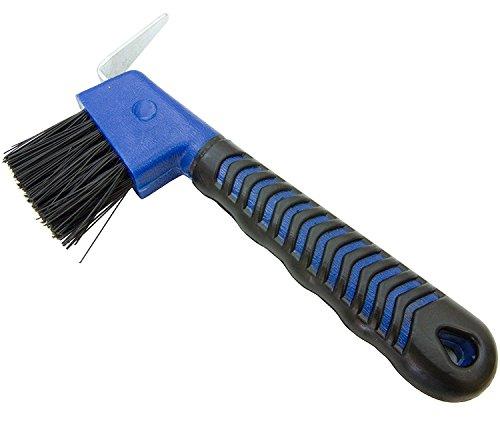 Derby Hoof Pick & Brush Combo Soft Grip (Blue)