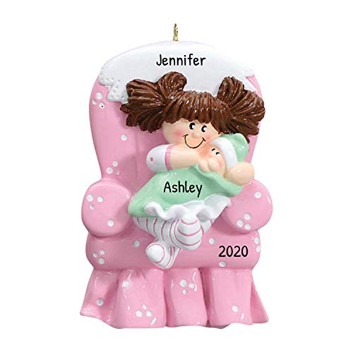 Personalized Big Sister Chair Christmas Tree Ornament 2019 - Brunette Toddler Carry Little Sibling First New Small Brother Family Care Memory Best 1st Pink - Free Customization (Brown Hair)