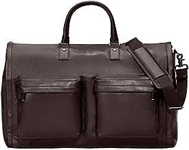 HOOK & ALBERT Genuine Leather Garment Weekender Bag, Espresso Brown