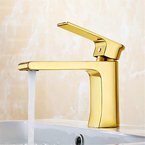 LHbox Bad Armatur in Bad für Waschbecken Waschtisch Wasserhahn Waschtischarmatur Euro-Copper Basin Erweiterung Steckdose Waschtisch Armatur Gold Party Grill weiße Farbe, Den Gold Standard)