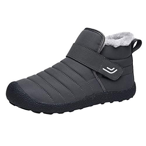 Herren Winter Trekking Warm Gefüttert Stiefel Hohe Boots, Männer Outdoor Klettverschluss Schneestiefel Wanderschuhe, Unisex Damen Freizeit Wasserdicht rutschfest Langschaftstiefel