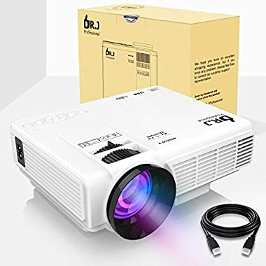 DR.J (2018 Upgraded) 4Inch Mini Projector with 170  Display - 40,000 Hour LED Full HD Video Projector 1080P Supported, Works with Amazon Fire TV Stick, HDMI,VGA,USB,AV,SD for Home Theater
