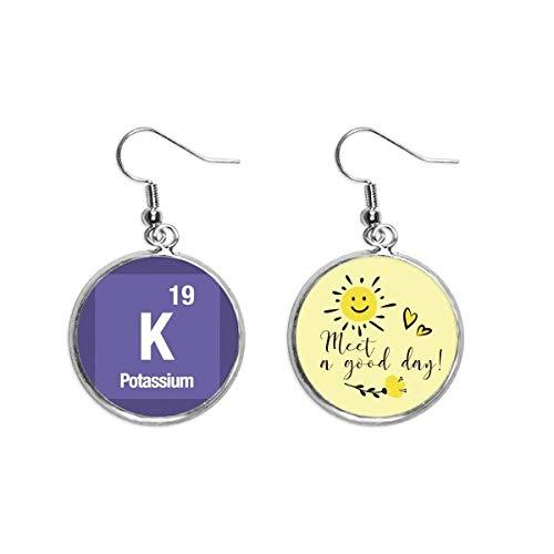 K Kalium chemisches Element Chem Ohr Tropfen Sonne Blume Ohrring Schmuck Mode